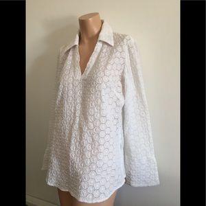 Fits M/L BOHO vintage 100%cotton eyelet lace tunic